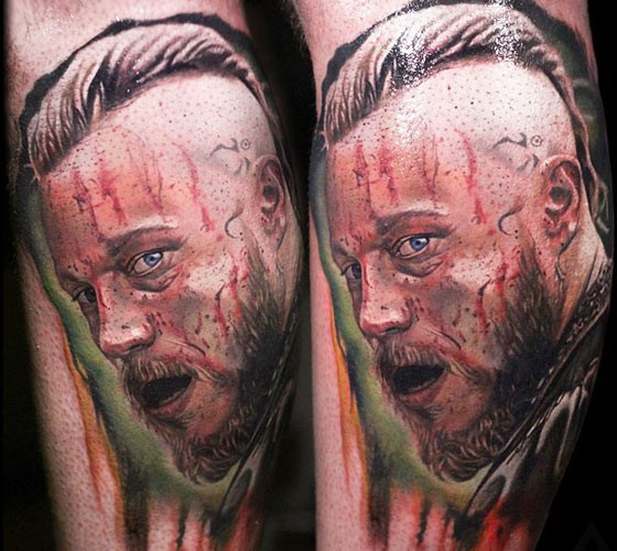 Breathtaking natural looking colored bloody man portrait tattoo on leg