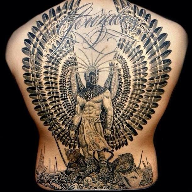 Breathtaking painted big black ink mystical warrior with wings tattoo on whole back