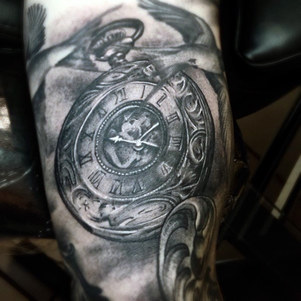 Breathtaking painted very detailed black ink mechanic pocket clock tattoo with birds on leg