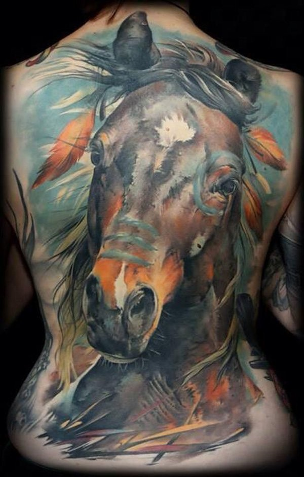Breathtaking painted very detailed massive whole back tattoo of Indian horse