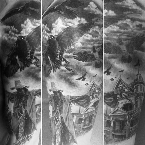 mozzafiato dipinto molto dettagliato a tema accidentale tatuaggio su braccio