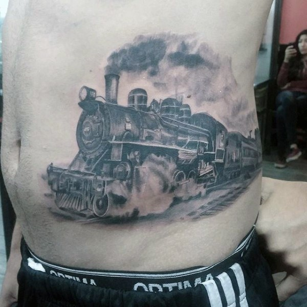 Breathtaking painted very realistic western train tattoo on side