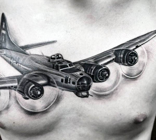 Breathtaking realism style black ink chest tattoo of navy bomber plane