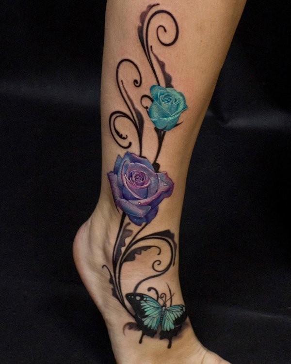 Atemberaubende Realistisch Aussehende Schone Blumen Tattoo Am Bein