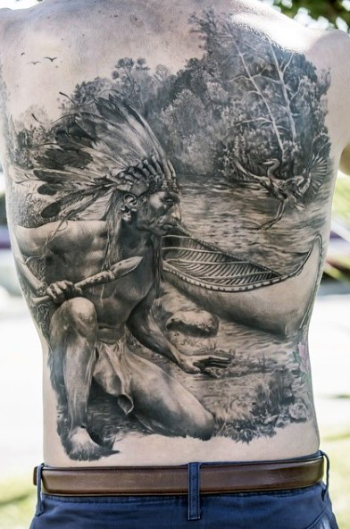 Breathtaking very beautiful black ink back tattoo of Indian hunter in near forest river