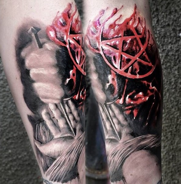 Breathtaking very detailed arm tattoo of human nailing somebody arm with dark demonic star