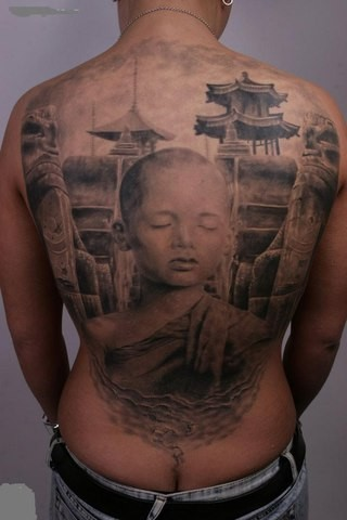 Breathtaking very detailed Asian boy monk tattoo on whole back with old city