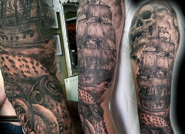 Breathtaking very detailed black and white old pirate ship with skull tattoo on sleeve