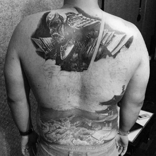 Breathtaking very detailed black and white Asian house tattoo combined with dark warrior