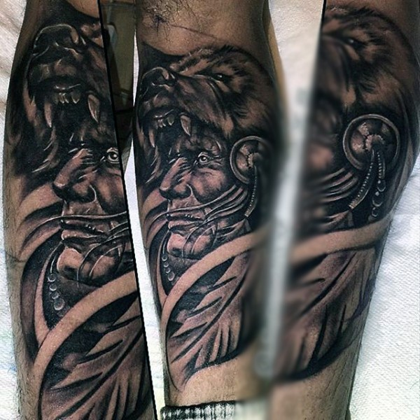 Breathtaking very detailed black ink forearm tattoo of old Indian chief
