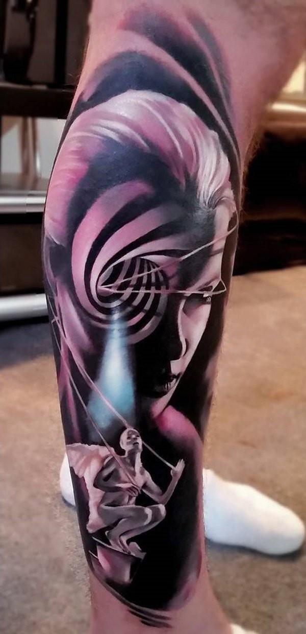 Breathtaking very detailed black ink hypnotic woman portrait tattoo on leg