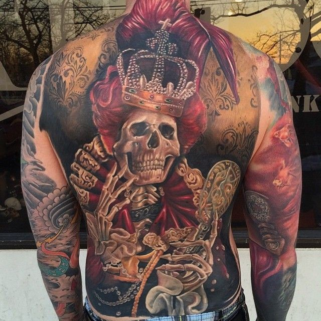 Breathtaking very detailed colored creepy skeleton queen tattoo on whole back