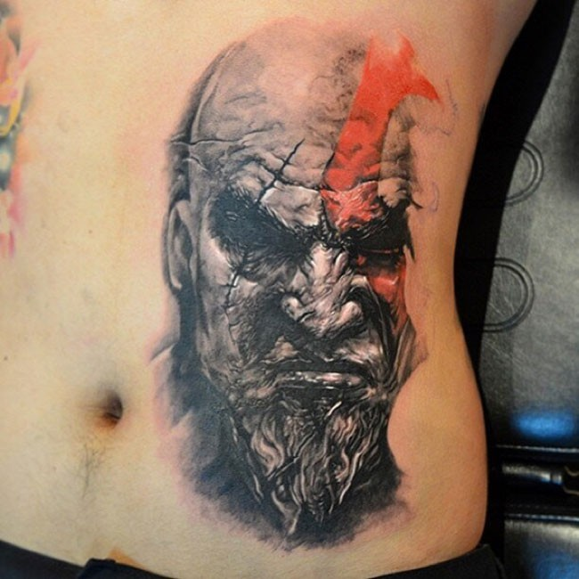 Breathtaking very detailed colored on side tattoo of evil barbarian portrait