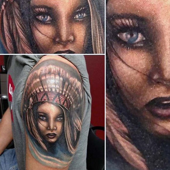 Breathtaking very detailed colored shoulder tattoo of cute Indian girl portrait