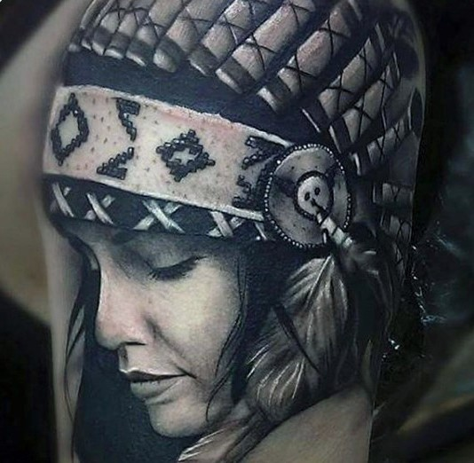 Breathtaking very detailed real photo like colored shoulder tattoo of cute Indian woman
