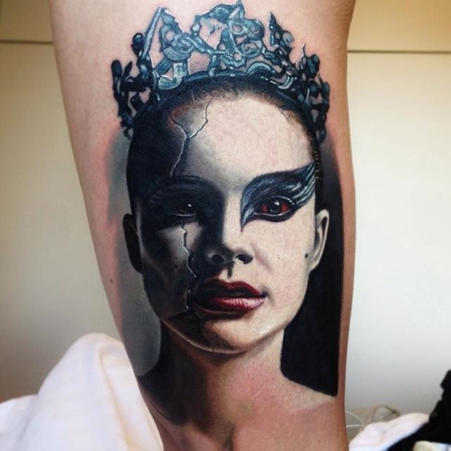 Breathtaking very detailed real photo like made-up woman portrait tattoo
