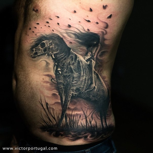 Breathtaking very detailed side tattoo of skeleton horse with creepy woman