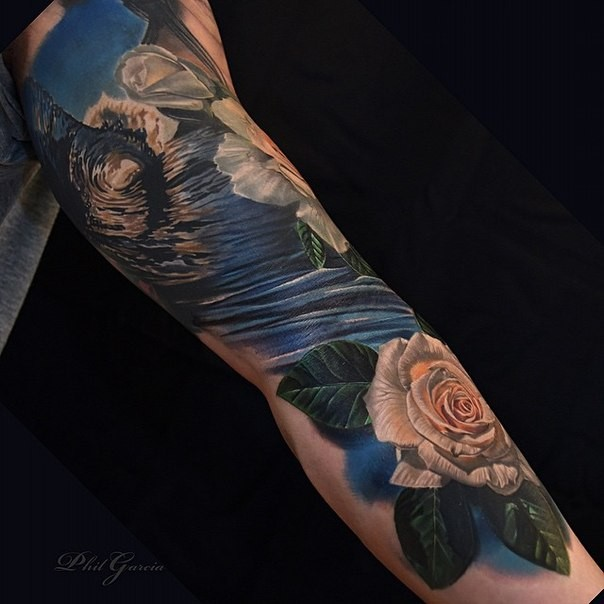 Breathtaking very detailed sleeve tattoo of ocean wave with roses