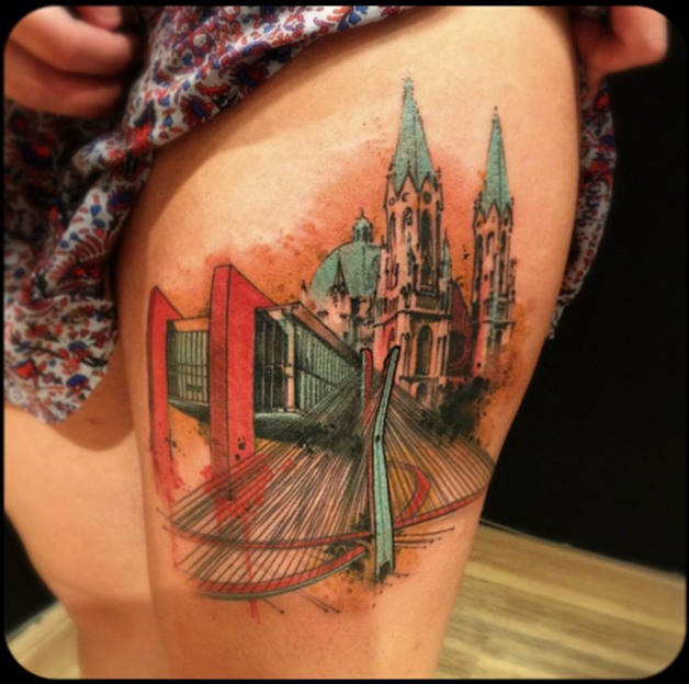 Breathtaking very detailed thigh tattoo of fantasy cathedral