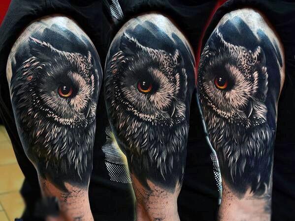 Breathtaking very realistic colored owl tattoo on half sleeve area