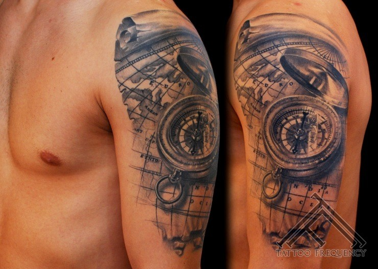 Breathtaking Very Realistic Detailed Nautical Compass Tattoo On