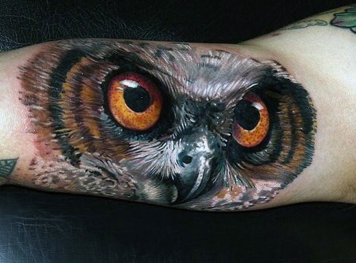 Breathtaking very realistic looking big owl tattoo on arm