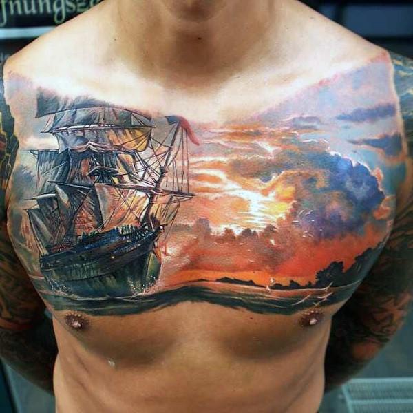 mozzafiato molto realistico grande colorato antico nave a vela su mare tatuaggio su petto