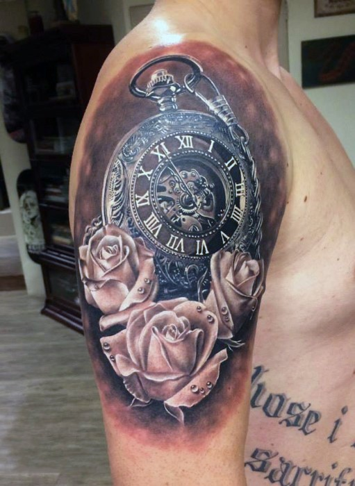 Breathtaking very realistic painted big old pocket clock shoulder tattoo with roses