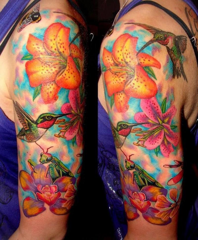 Hell Gefarbte Lilie Blumen Mit Kolibris Biene Und Heuschrecke