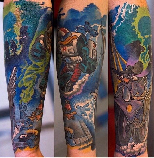 Brilliant accurate painted colorful forearm tattoo of old famous cartoon
