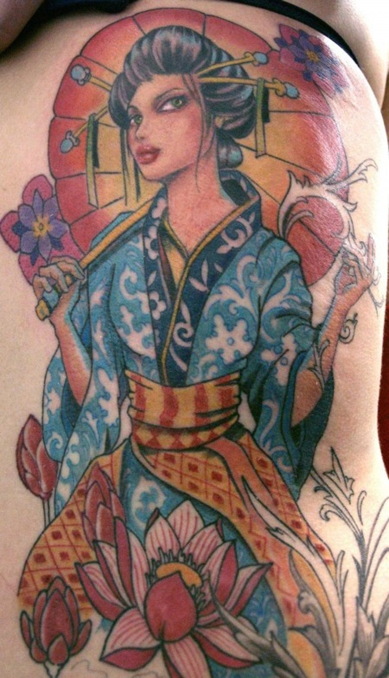 Brilliant looking colored side tattoo of big Asian woman portrait and various flowers