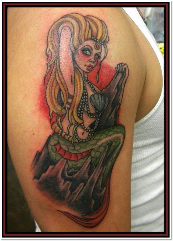 Brilliant painted sexy mermaid tattoo on shoulder