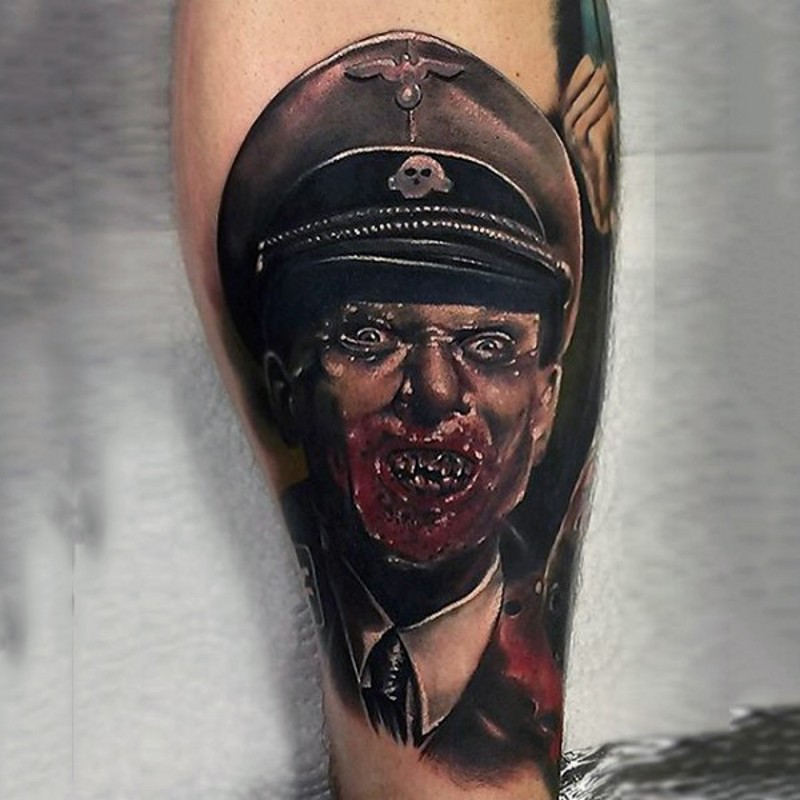 Brilliant real photo style colored Nazi zombie portrait tattoo on forearm