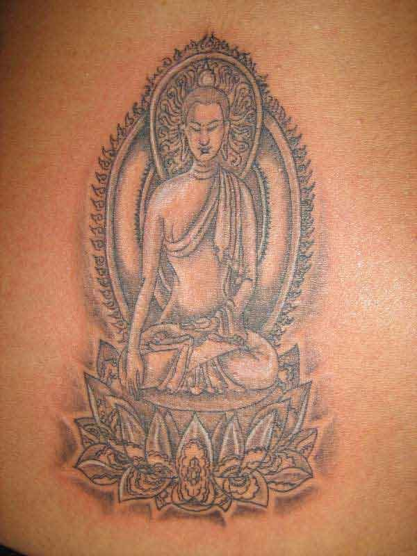 Buddha sitting on lotus flower tattoo tattooimagesz mightylinksfo