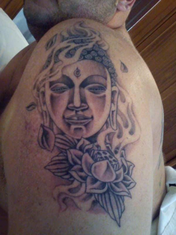 buddhist face tattoo on half sleeve. Black Bedroom Furniture Sets. Home Design Ideas