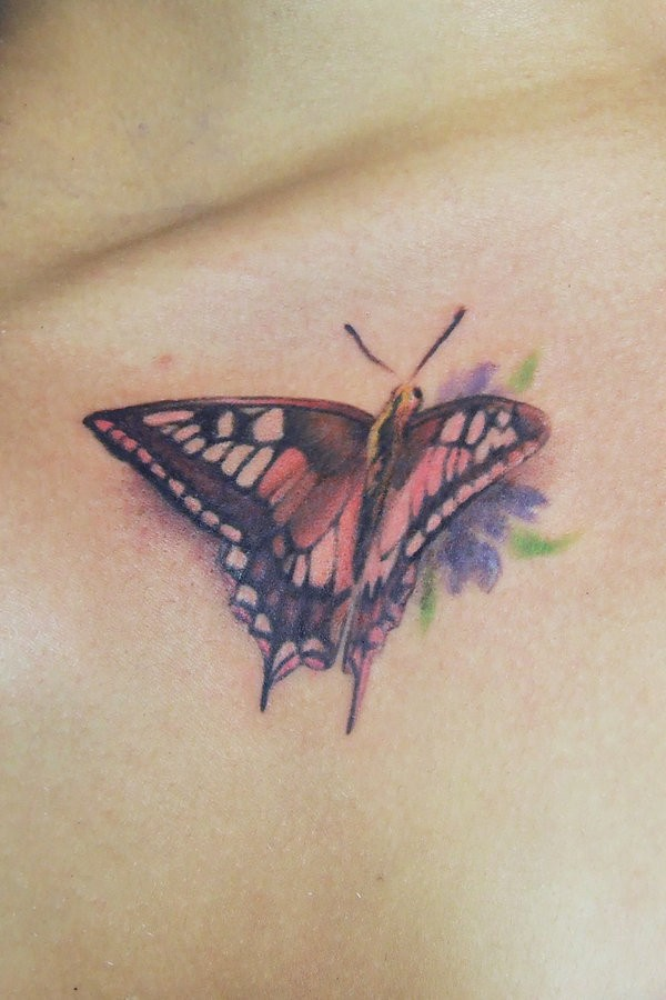Butterfly and flower tattoo