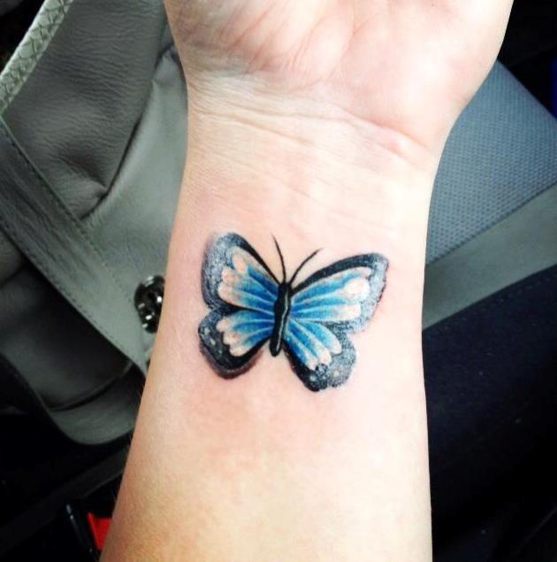 Butterfly art tattoo wrist idea for her