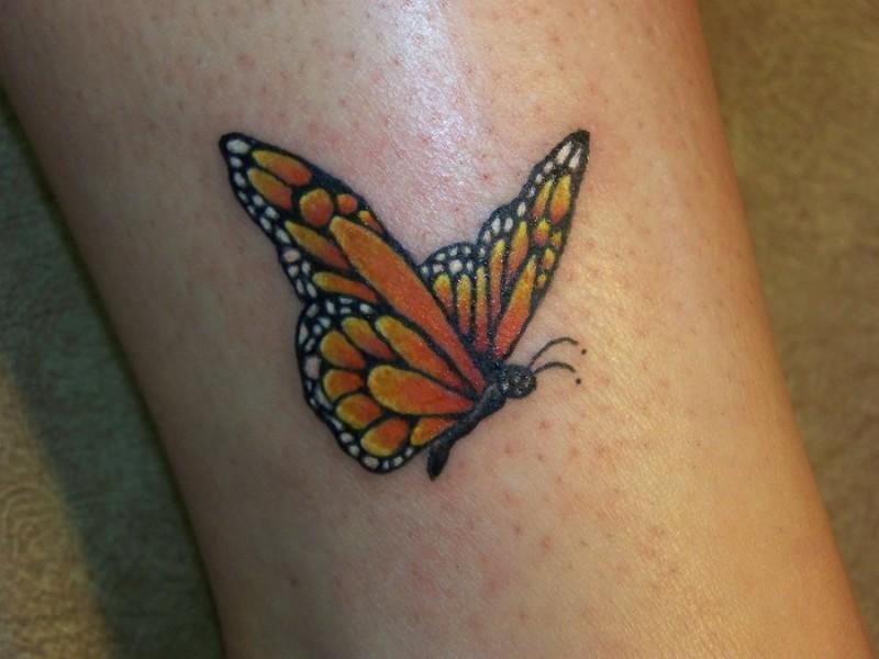 Tatuaggio colorato sulla gamba la farfalla
