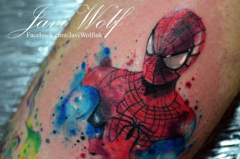 Cartoon comics hero spider man in costume colored tattoo by Javi Wolf in watercolor style