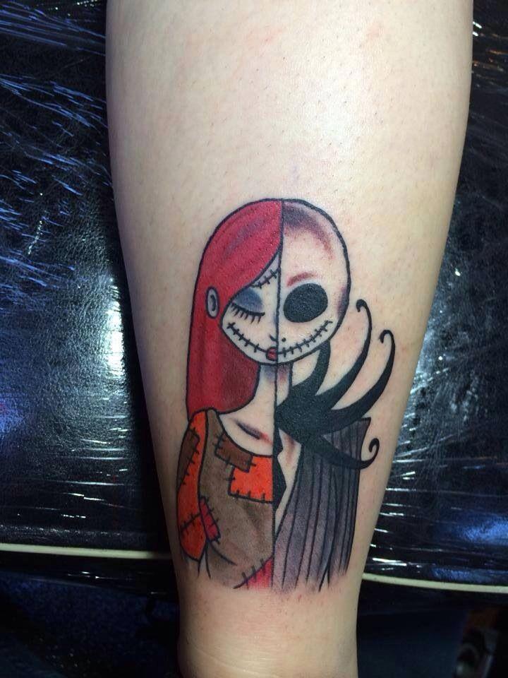 Cartoon hero half Jack Skellington half Sally colored tattoo
