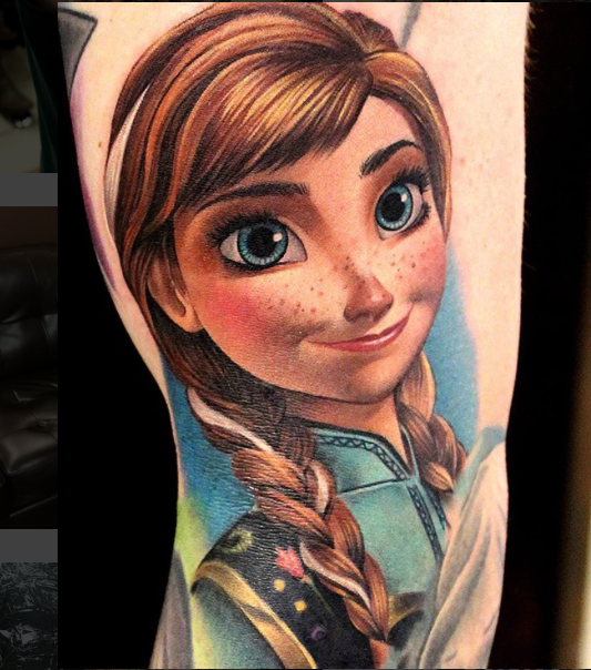 Cartoon heroine Rapunzel colored tattoo in realistic style
