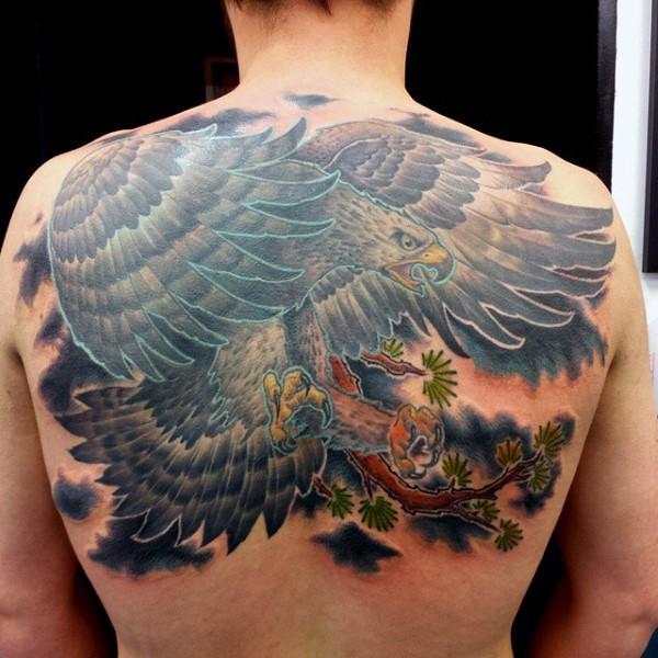 cartone animato eccezionale colorato grande aquila tatuaggio pieno di schiena