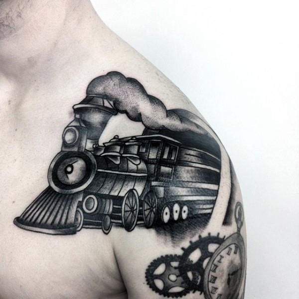 Cartoon like black ink old train tattoo on shoulder