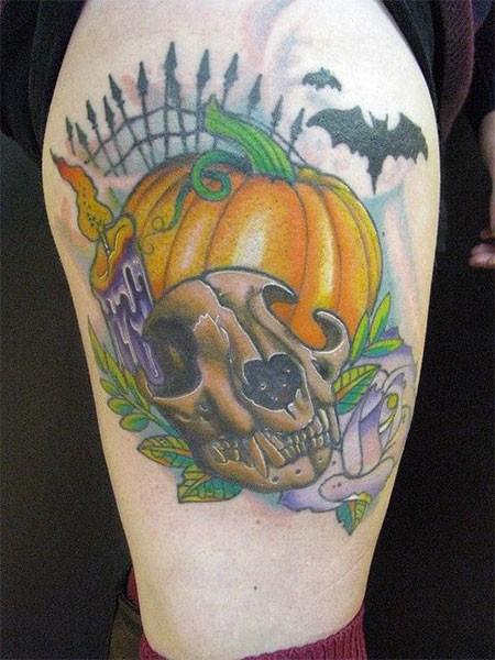 Cartoon like colored animal skull with pumpkin tattoo