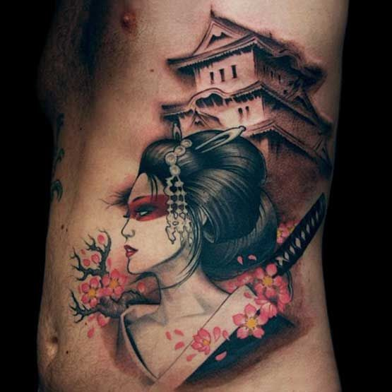 cartoon like colored asian woman warrior with old house tattoo on side. Black Bedroom Furniture Sets. Home Design Ideas
