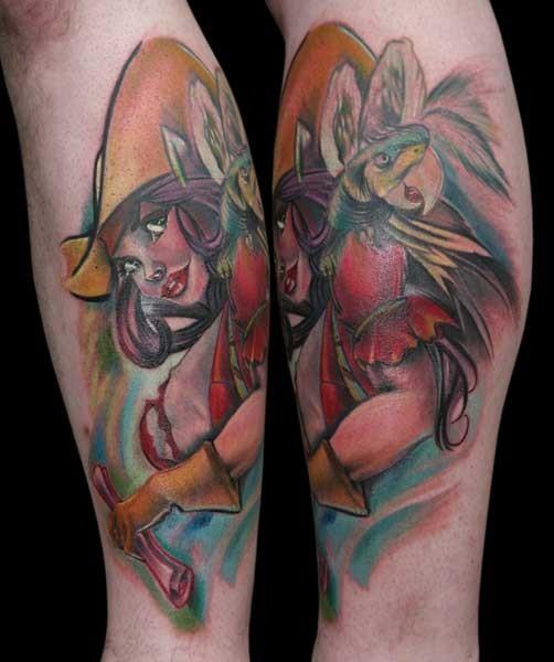 Cartoon like colored beautiful woman with carrot tattoo on arm