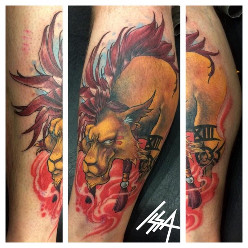 Cartoon like colored demonic leg tattoo on evil bull