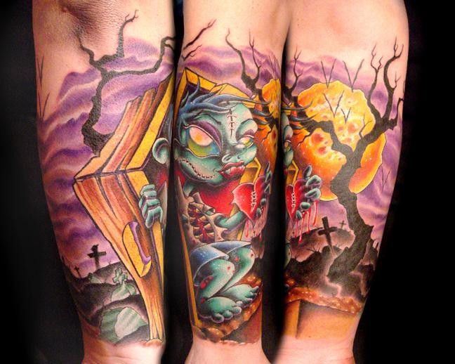 Cartoon like colored funny zombie on cemetery sleeve tattoo