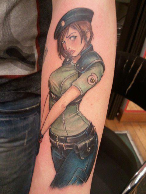 cartone animato colorato seducente donna militare tatuaggio su braccio