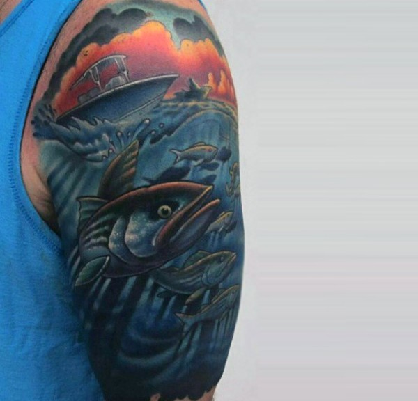 Cartoon like multicolored fishing boats with fish half sleeve tattoo